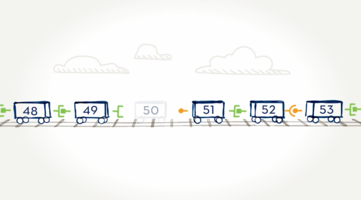 EXONDYS 51 illustration showing a genetic mutation on the dystrophin gene where exon 50 is missing, and exon 49 unable to connect to exon 51. Exons shown as train cars as part of explaining exon skipping technology