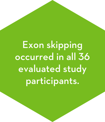 Exon skipping occurred in all 36 evaluated study participants