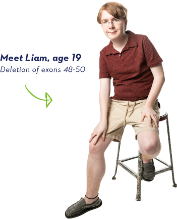 EXONDYS 51 patient Liam, age 19, sitting on a stool looking at the camera with a white background